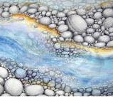"""Going With The Flow"" Pointillism - ink and watercolour AVAILABLE"
