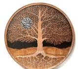 """From small seeds grow mighty trees"" 20"" diameter acrylic ink on Turned maple SOLD"